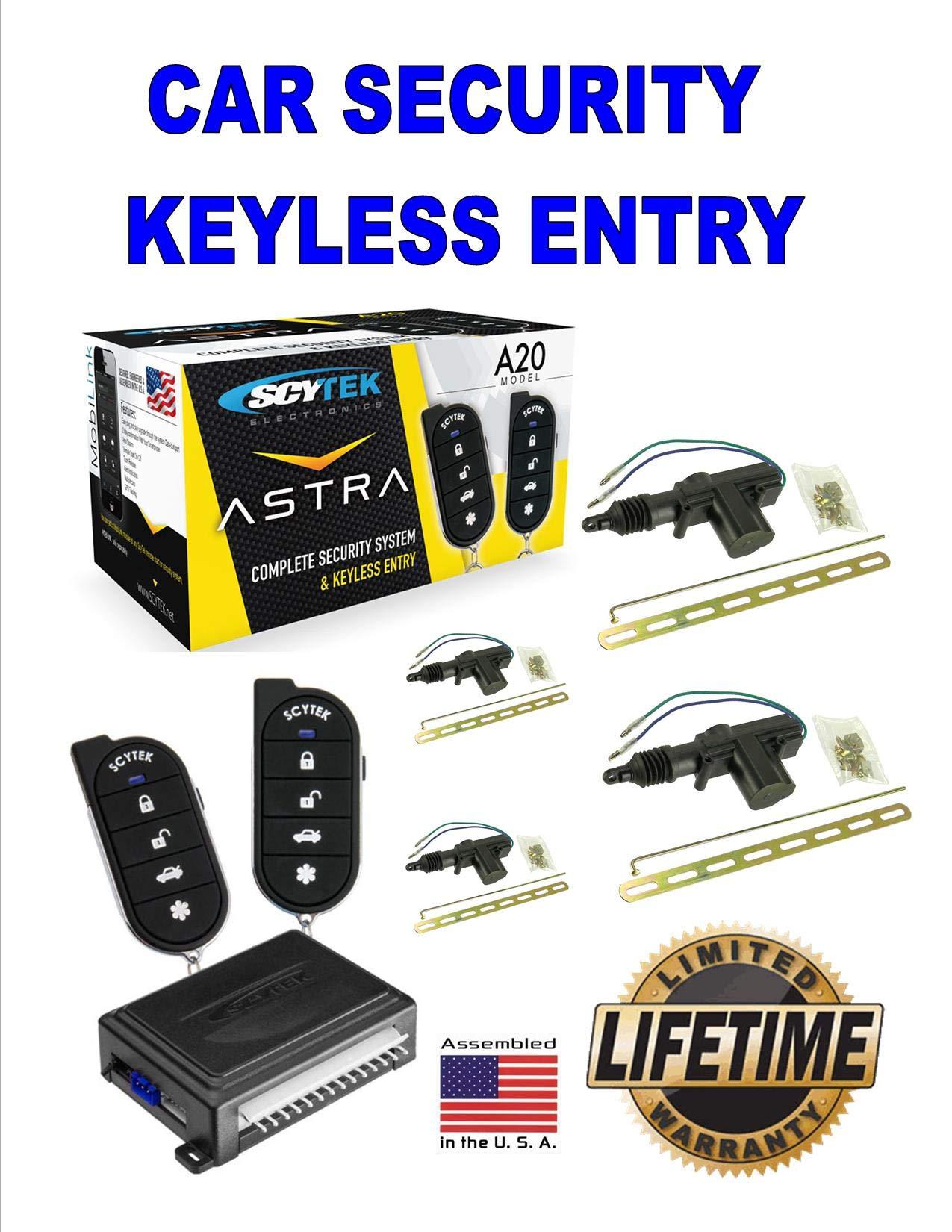 Car Alarm Security System 4 Door Locks Keyless Entry 2 Remote Control Scytek A20