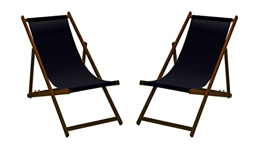 2 X Liegestuhl Holz Mit Dunkelbrauner Lasur Schwarz Ohne Armlehne
