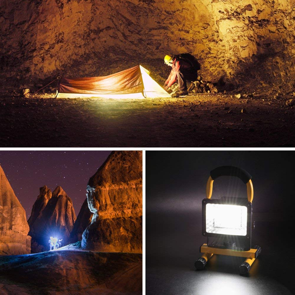 XzDami Tragbare Baustrahler,30W LED Strahler IP65 Arbeitsleuchte Akku Fluter Handlampe Gelb