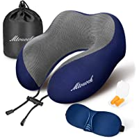MTOUOCK Travel Pillow, 100% Pure Memory Foam Neck Pillow, Comfortable & Breathable Cover, Machine Washable Airplane Travel Kit with 3D Sleep Mask, Earplugs, and Travel Bag, Blue