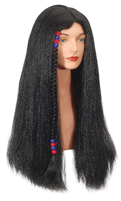 Loftus International Adult Star Power Hippie with Beads Long Wig, Black, One Size