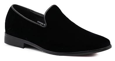 Enzo Romeo SPK03 Men's Vintage Plain Velvet Dress Loafers Slip On Shoes Classic Tuxedo Dress Shoes (11 D(M) US, Black)