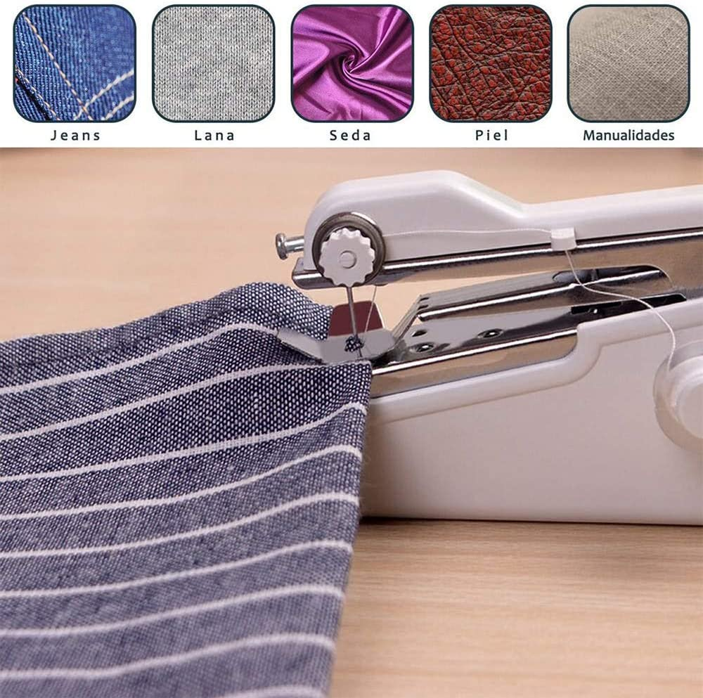 Portable Mini Handheld Sewing Machine Small Stapler Hand Sewing Machine Handy Stitch Cordless Lightweight for Beginners for Thin Fabric