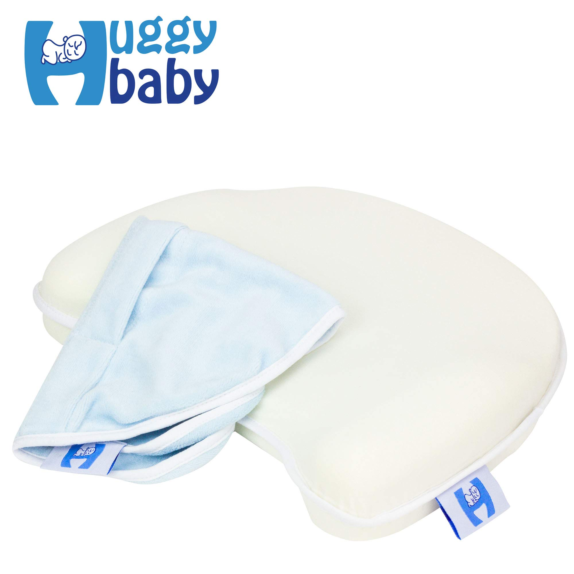 Premium Anti Flat Head Baby Pillow – Memory Foam Infant Head Support – Keeps Infant Head Round & Prevents Flat Head Syndrome – Includes Free Extra Pillow Case – Natural Baby Head Shaping Pillow