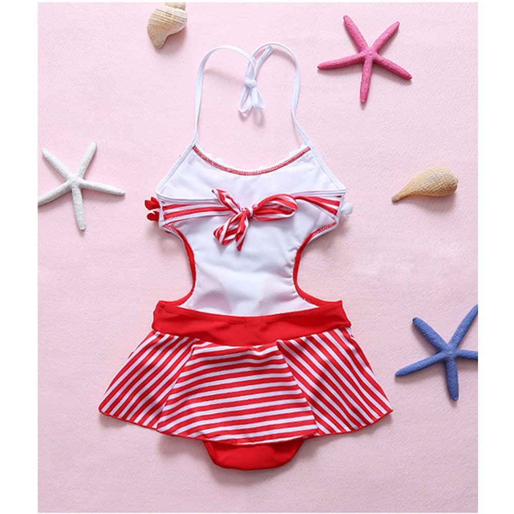 Color : Red, Size : L FeliciaJuan Kids Beach Sport Banded One Piece Swimsuit Girl Stripe Three-Dimensional Small Floral Swimwear