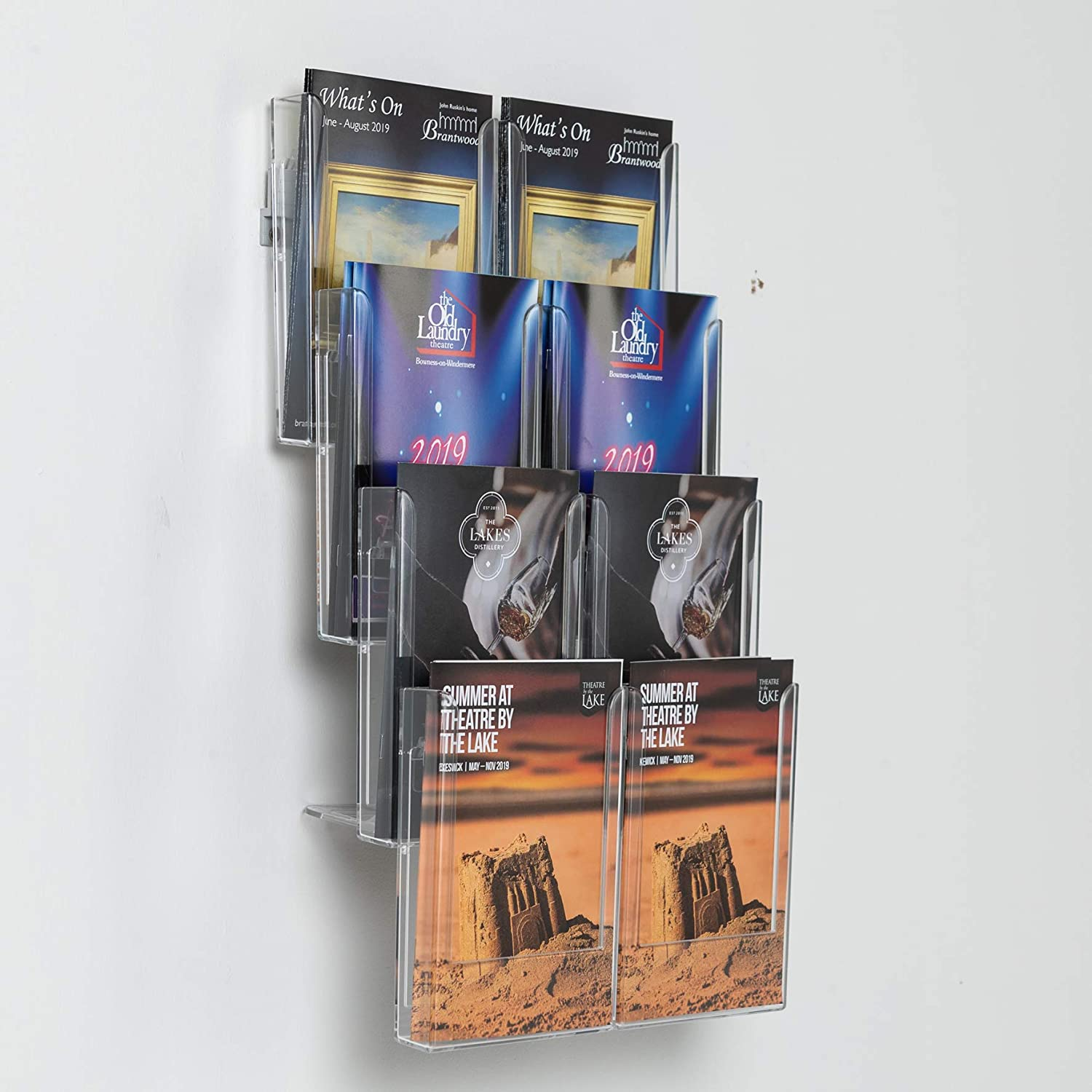 Reception Wall Mounted Leaflet Dispenser Holders Brochure Clear Pockets 4 X A4 + 4 X 1//3 A4 Office