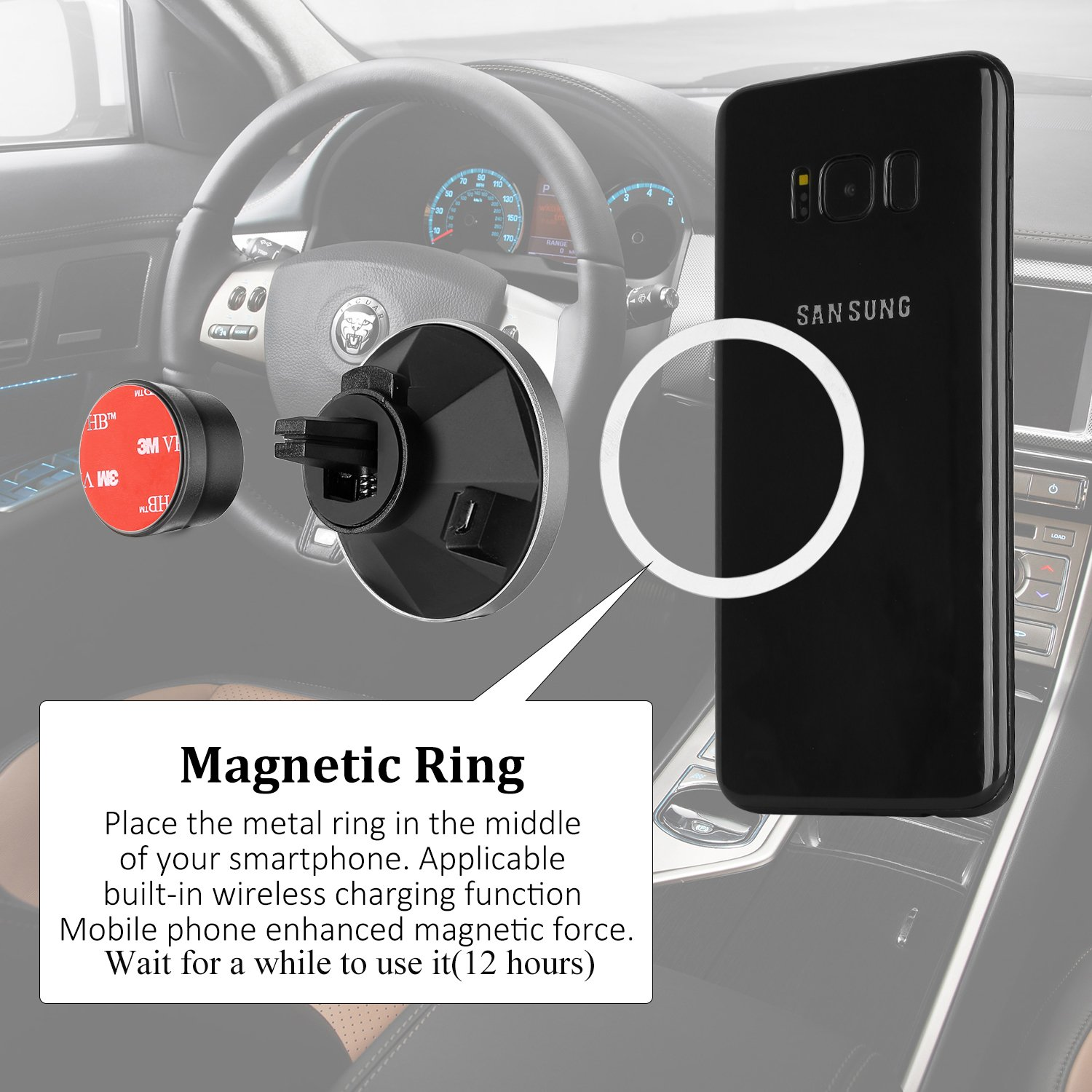 Qinoren Magnetic Wireless Car Charger Air Vent Phone Holder,Wireless Charging for Samsung S9/S9+/S8/S8+/S7/S7 Edge Note 8、Apple iPhone X/8/8 Plus and All QI-Enabled Devices(No Car Charger) by Qinoren (Image #3)