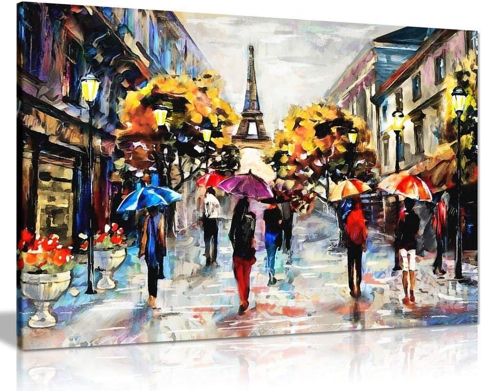 Black /& White Paris Oil Painting Canvas Wall Art Picture Print Various Sizes
