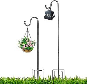Harrms Shepherd Hook 62 inch,5/8inch Diameter Stainless Steel with 5 Prongs Base Use at Bird Feeder Pole Garden Hanging Plants Basket Hanger, Jar Wind Chime Wedding Metal Hanger Hook, Silver