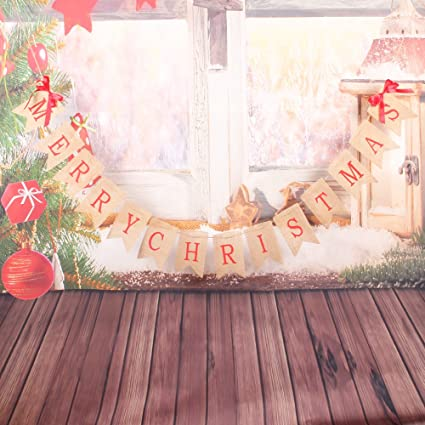 christmas decorations merry christmas banner jute burlap christmas banner garlands with 2 bow ribbons - Burlap Christmas Banner