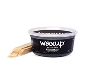 waxup Microwave Hard Wax Kit, Black Mud 7 Ounces Pot, 8 L 8 M Wax Sticks, Home Waxing, Stripless Microwaveable Hot Hair Removal Wax Men Body, Face, Eyebrow, Nose, Ear, Upper Lip, Legs, Underarms, Arm