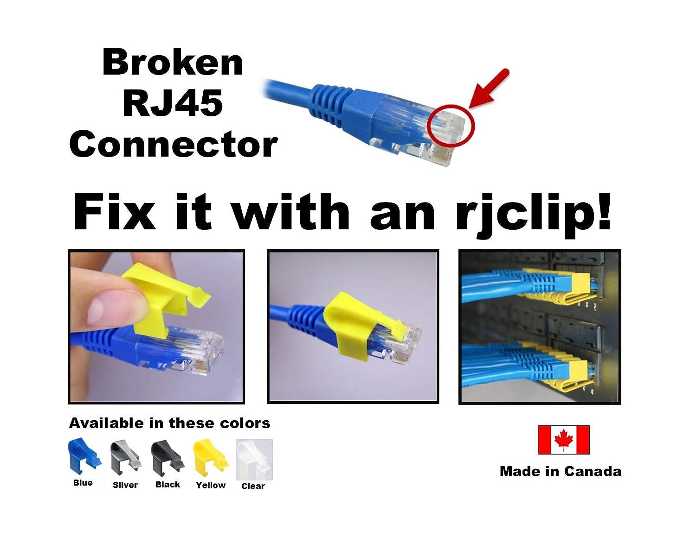RJCLIP Broken RJ45 fix repair CAT5 CAT5e CAT6 connectors 10 PCS SILVER Color