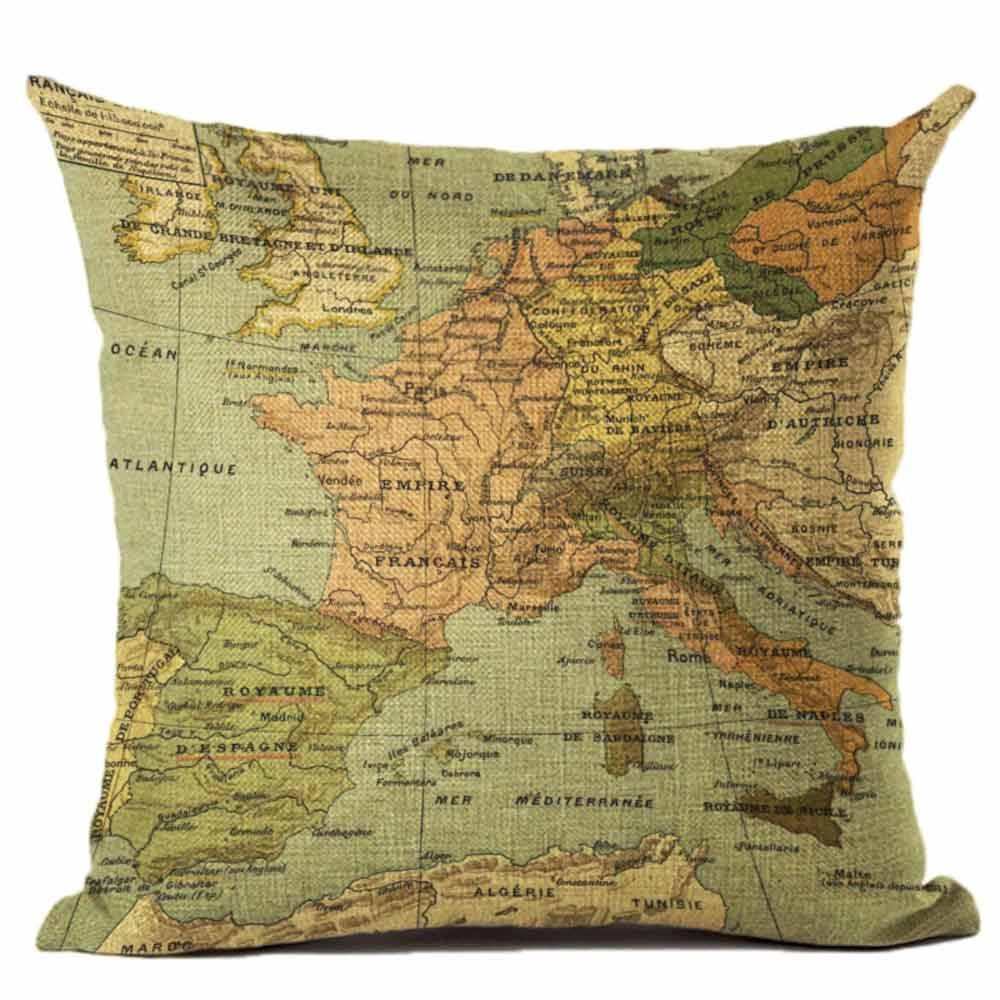 Pgojuni Map The World Print Pillow Cases Linen Cotton Sofa Cushion Cover Home Decor Sofa/Couch 1pc 45X45 cm (B)