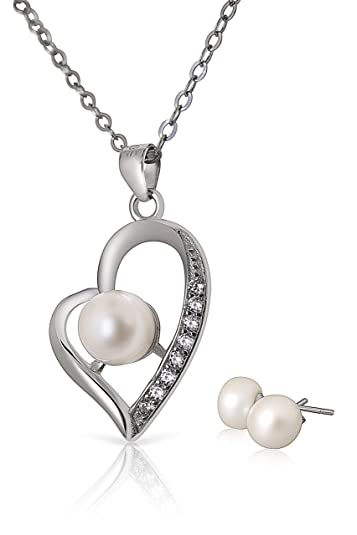 3aef025c9 Omi Eire - Pearl Jewellery - Sterling Silver Pearl Heart Pendant Necklace  and Earrings Set with Luxury Gift Box - Jewellery for Women: Amazon.co.uk:  ...