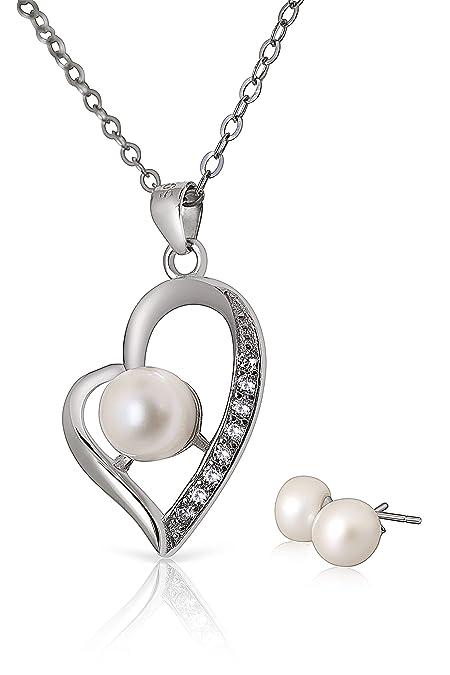 Demiparure da donna composta da catenina e ciondolo a forma di cuore con  perle 28e857f826ac