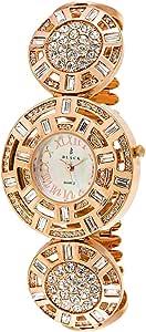 Black Royale Women's White Dial Brass Band Watch - 10572LSRB