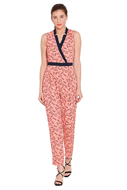 2240c5e3287 THE VANCA Women s Front Overlapped Jumpsuit in Peach Print with Half Collar  Band  Amazon.in  Clothing   Accessories