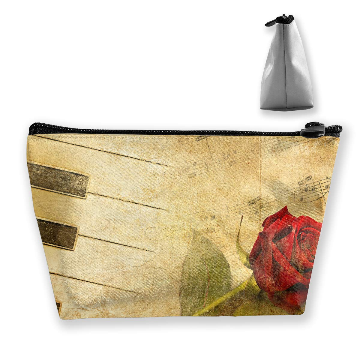 Trapezoid Toiletry Pouch Portable Travel Bag Piano Rose Clutch Bag