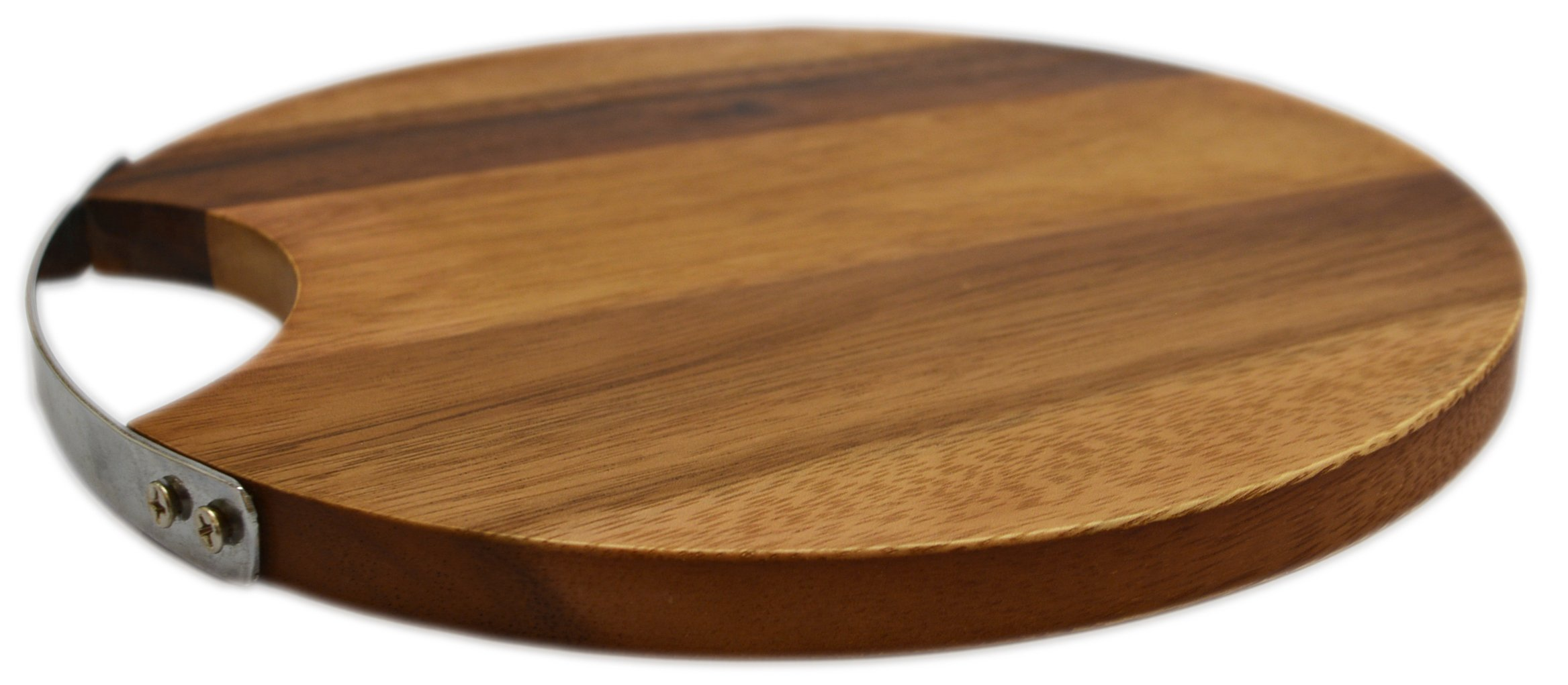 RoRo Round Wood Cheese and Serve Board with Stainless Steel Handle, 10 Inch