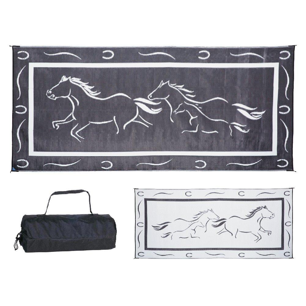 Stylish Camping GH8181 Black/White 8-Feet x 18-Feet Galloping Horses Mat