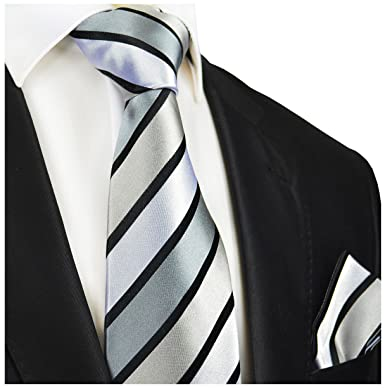 f42ed9349bce Amazon.com: Silver and Black Striped Silk Tie and Pocket Square Paul Malone  Red Line: Clothing