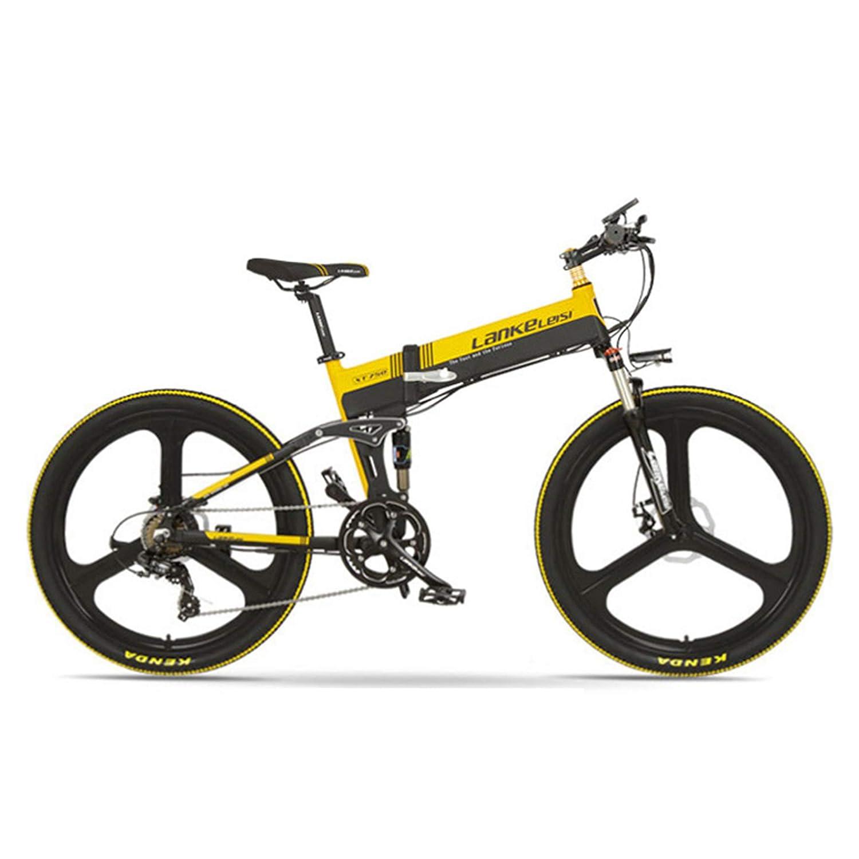 XT750-E 26インチ折りたたみ自転車、フロント&リアディスクブレーキ、48V 400Wモーター、長寿命、LCDディスプレイ付き、ペダルアシスト自転車 (黑黄, 14.5Ah + 1予備電池)