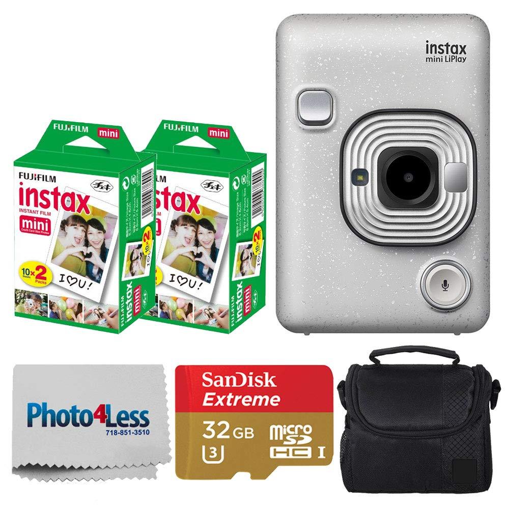 Fujifilm Instax Mini LiPlay Hybrid Instant Camera (Stone White) + Fujifilm Instax Instant Film (40 Shots) + 32GB mciroSDHC Memory Card + Camera/Video Case + Photo4Less Cleaning Cloth - Deluxe Bundle by Fujifilm