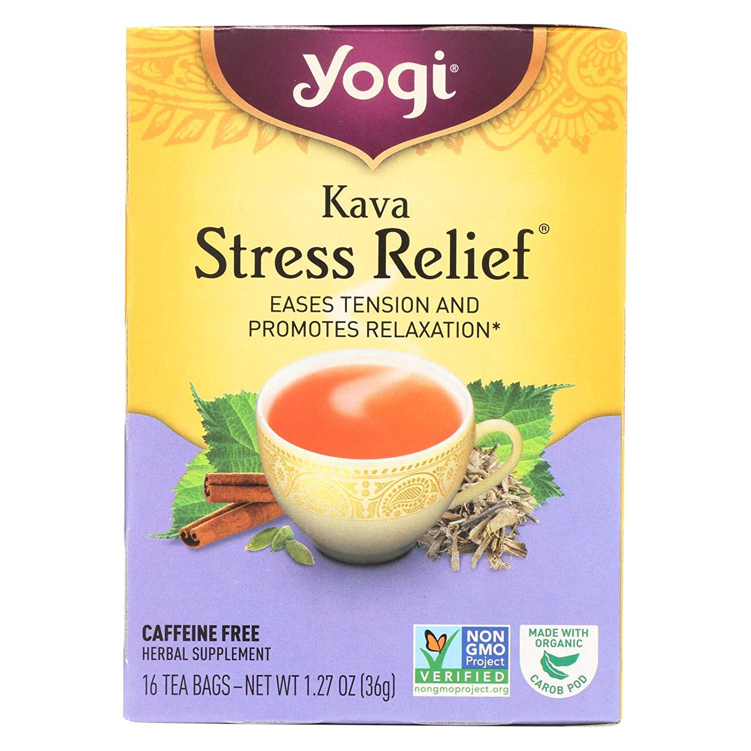 Yogi Tea Kava Stress Relief - Caffeine Free - 16 Tea Bags - 100% Natural - Herbal Tea Supplement