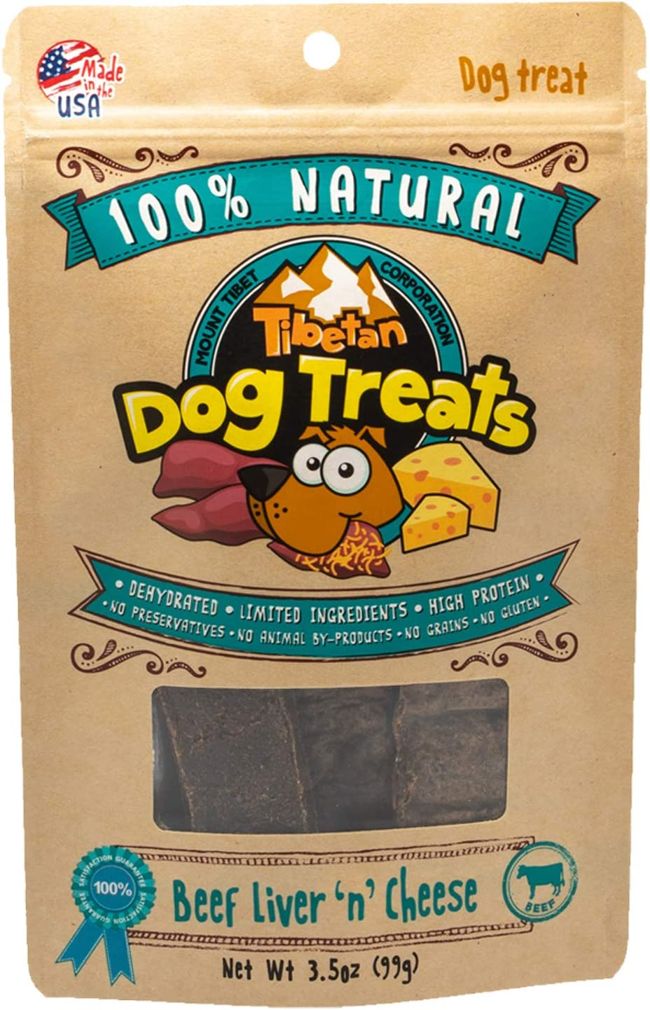 Tibetan Yak Cheese Dog Treats – Beef Liver 'n' Cheese, 3.5oz, Made in USA, 100% Natural, High Protein, NO Preservatives, NO Additives, NO Grains, NO Gluten, NO Corn, NO Soy