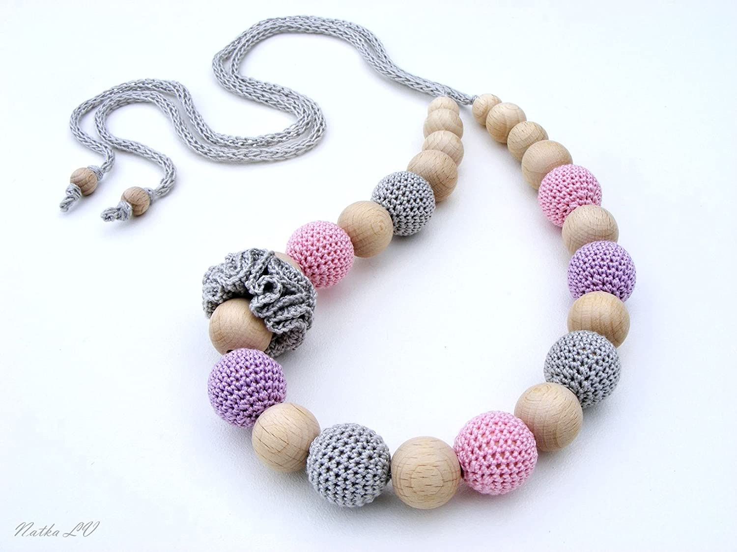 Crochet nursing necklace, teething necklace, breastfeeding necklace, natural, wooden beads, cotton, grey pink lavender, unisex teething toy, new baby gift