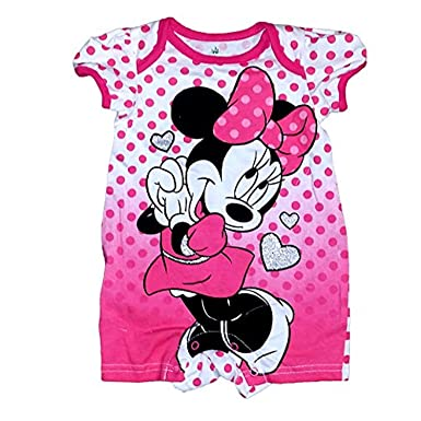c502677ce000 Amazon.com  Disney Minnie Mouse Baby Girls Polka Dot Romper - White ...