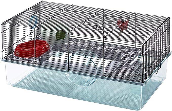 Feplast Jaula para hámsteres FAVOLA, para pequeños roedores, Plástico Robusto y Metal, Dos Pisos, Accesorios incluidos 60 x 36,5 x h 30 cm Negro