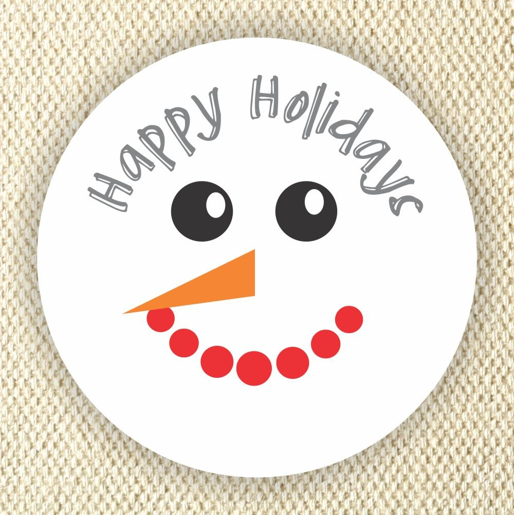 Snowman Stickers - Happy Holidays favor Stickers - Enveloped seal stickers - Merry Christmas stickers
