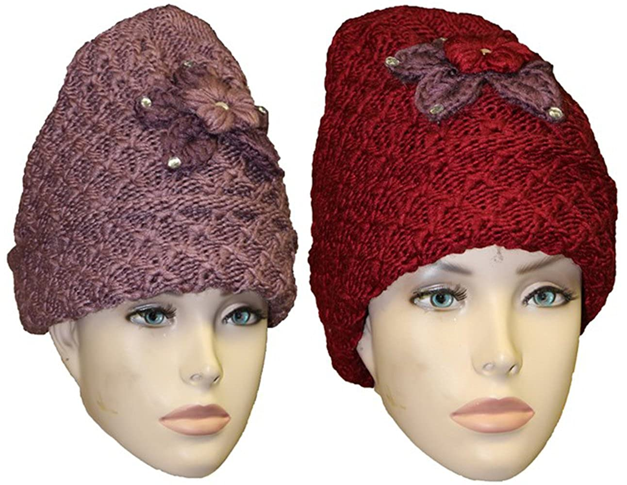 518d06a59cf Heavy Duty 110 Grams Women Insulated Cuffed Knitted Beanie Winter Hat.  (Mauve   Burgundy) at Amazon Women s Clothing store