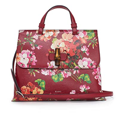7536107f857 Amazon.com  GUCCI Bamboo Shopper Blooms Leather Tote Bag Red  Shoes