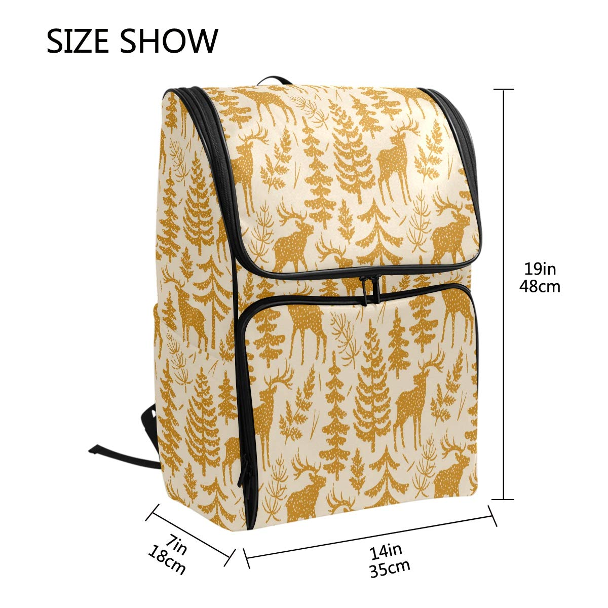 873291dda23e Amazon.com: AGONA Cartoon Animal Elks Trees Branches School Backpack ...