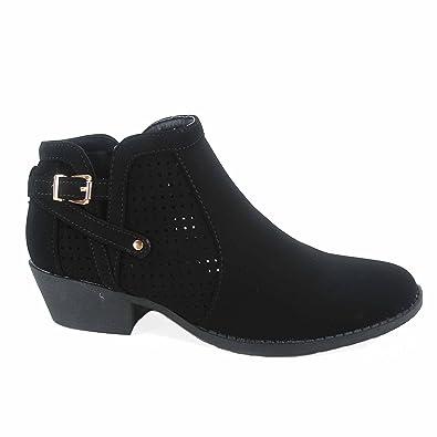 Chevy-38 Women's Stylish Almond Toe Buckle Zipper Low Heel Booties Shoes