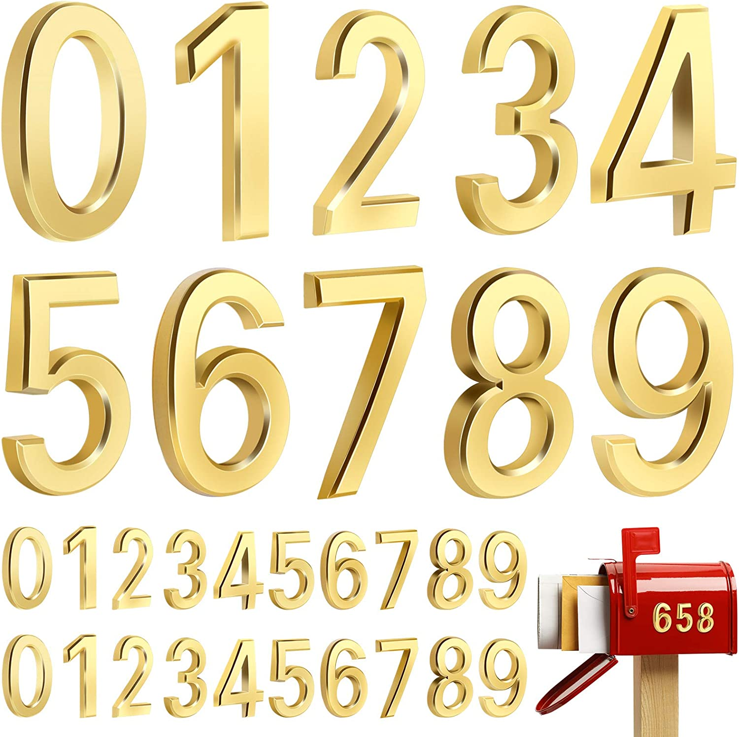 durony 30 Pieces 2.76 Inches Gold 3D Mailbox Numbers 0-9 Self-Adhesive House Door Number Decal Street Address Number Stickers for Mailbox, Office, Cars