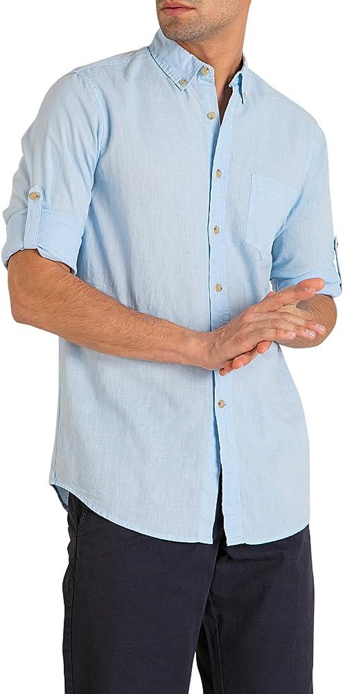MO Camisa Hombre Manga Sardineta - Azul Claro - Talla S: Amazon.es: Ropa y accesorios