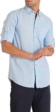 MO Camisa Hombre Manga Sardineta - Azul Claro y Blanco