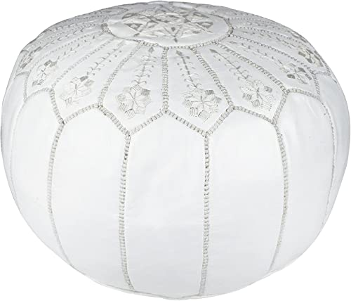 Casablanca Market Moroccan Embroidered Starburst Stitched Cotton Stuffed Leather Pouf