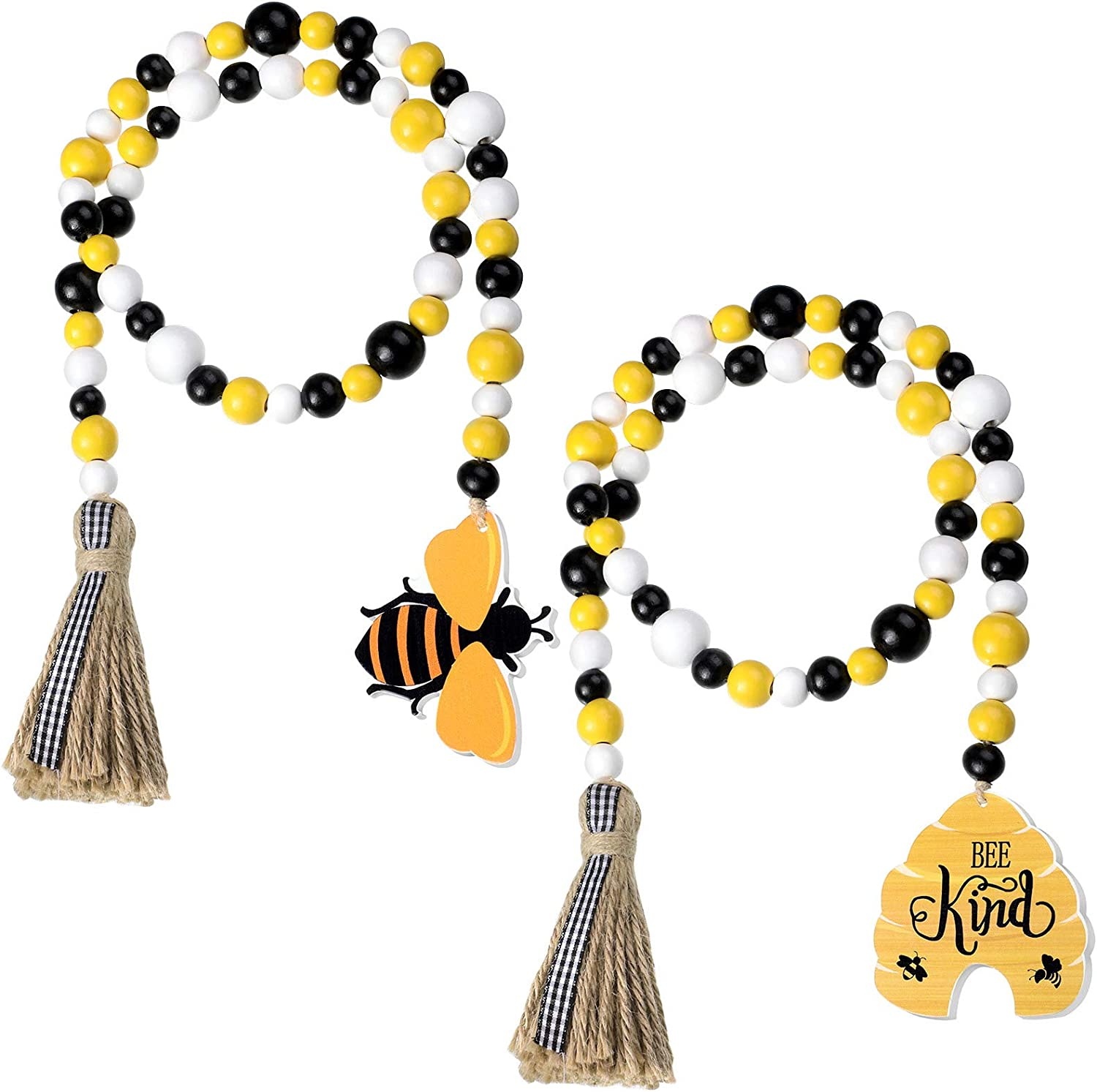 Jetec 2 Pieces Bee Wood Bead Garland with Tassels, Honeycomb Wood Bead Spring Summer Wooden Bead Garland Rustic Farmhouse Home Decorations for Tiered Tray Shelf Displays