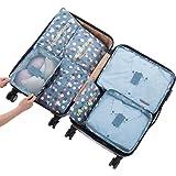 7 Sets Packing Cubes - 3 Packing Cubes + 3 Pouches + 1 Bonus Shoes Bag (2Blue Flower)