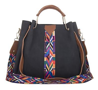 ea1de83c6c14 Onfahion Women s Colorful Strap Handbag Top Handle Tote Bag Bucket Shoulder  Bag 2 pieces