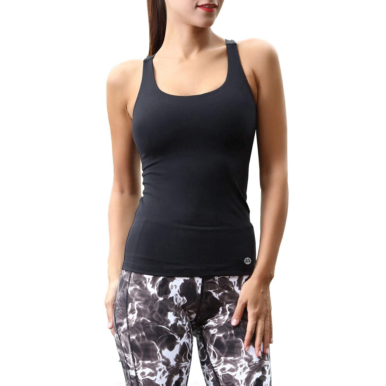 Matymats Women's Yoga Tank Top Built in Shelf Bra Sleeveless Running Workout T-Shirt Dry Fit (Black, Small)