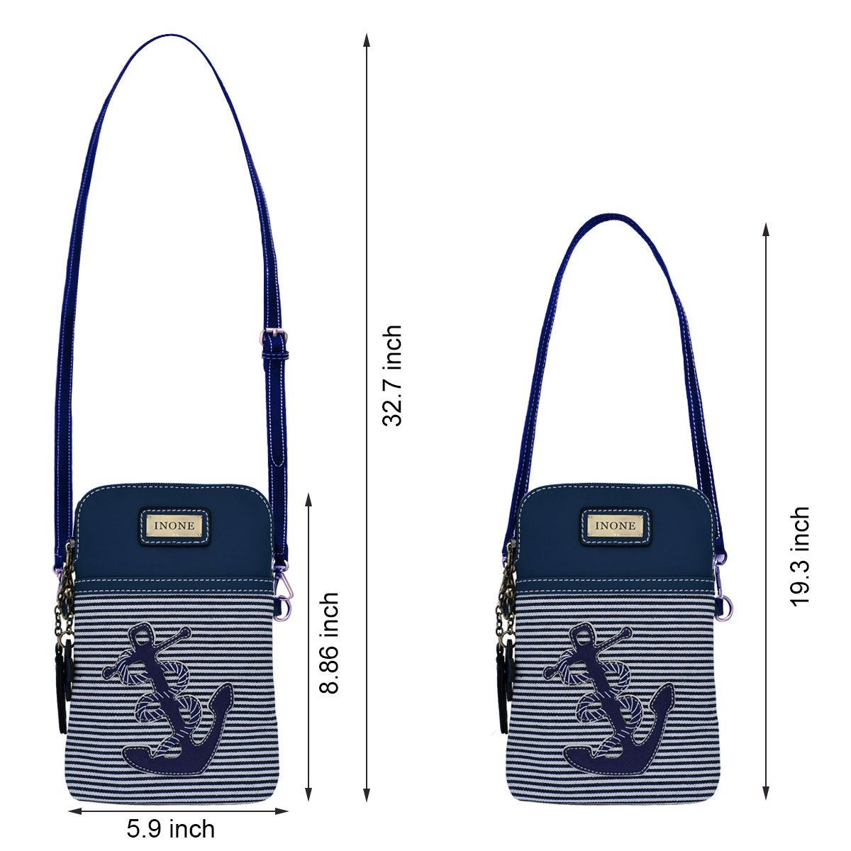 Anchor Crossbody Bag Nautical iPhone Cell Phone Purse Bag PU Leather Canvas Handbag for Smartphone Credit Card Passport Keys by inOne (Image #7)