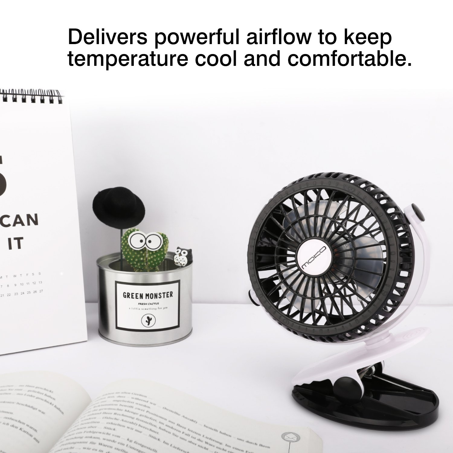 Fishing Travel Camping MoKo Clip On Rotatable Table Fans Portable Battery Operated Rechargeable Desk Fans with 3 Fan Speed for Office Mini USB Fan Blue