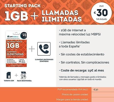 UppMobile - Pack de Bienvenida (1Gb + ilimitadas) : Tarjeta SIM 1 GB + Llamadas ilimitadas móvil: Amazon.es: Electrónica