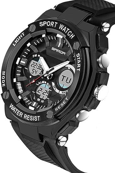 Sanda para hombre relojes Digital analógico Sports Big Face Military Casual negro: Amazon.es: Relojes