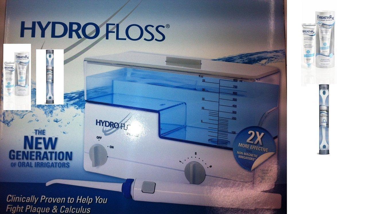 Hydro Floss Oral Irrigator New Generation Bundle Free Bonus BreathRx Tongue Scraper & Toothpaste